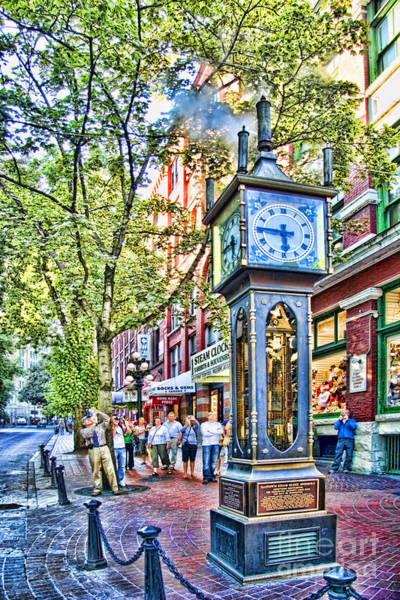 Street Scenes Photograph - Steam Clock In Vancouver Gastown by David Smith