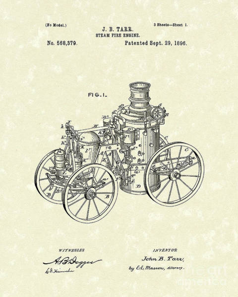 Drawing - Steam Engine 1896 Patent Art by Prior Art Design