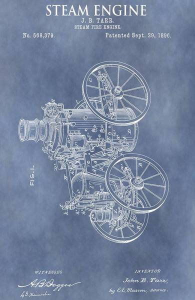 Engine Mixed Media - Steam Engine Patent by Dan Sproul