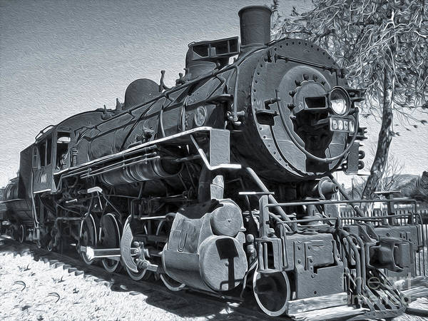 Photograph - Steam Locomotive - Black And White by Gregory Dyer