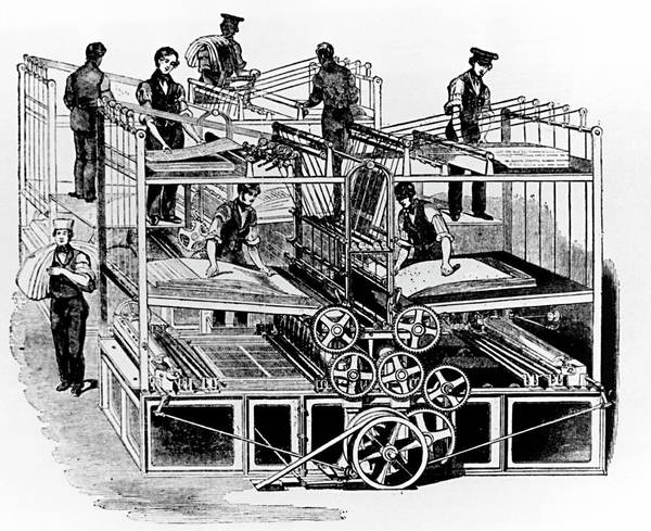 Printing Photograph - Steam-powered Printing Press In The 19th Century. by Science Photo Library