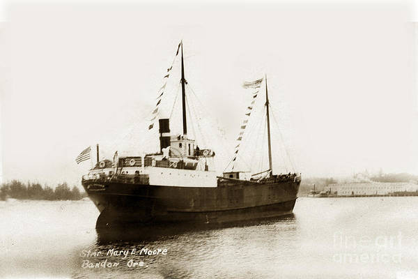 Photograph - steam schooner Mary E Moore Bandon Oregon circa 1924 by California Views Archives Mr Pat Hathaway Archives