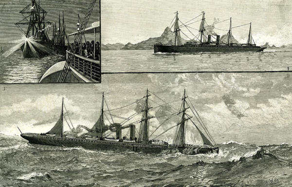 Stormy Drawing - Steam Ship Ormuz Australia To England 1887 On The Voyage by Australian School