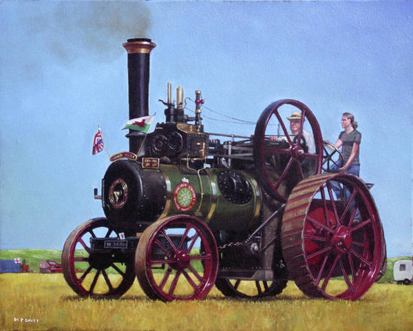 Painting - steam traction engine Ransomes Sims and Jefferies General Purpose Engine by Martin Davey