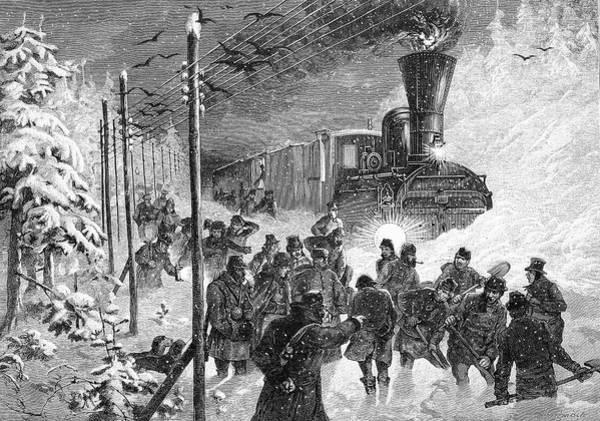 Engraving Photograph - Steam Train In Snow Drift by Bildagentur-online/tschanz