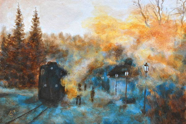 Vintage Railroad Painting - Steam Train by Martin Capek