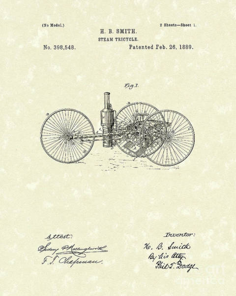 Drawing - Steam Tricycle 1889 Patent Art by Prior Art Design