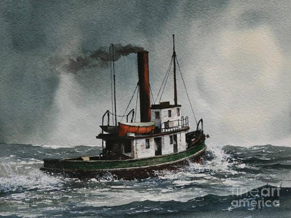 Tugboat Wall Art - Painting - Steam Tugboat Katadin by James Williamson
