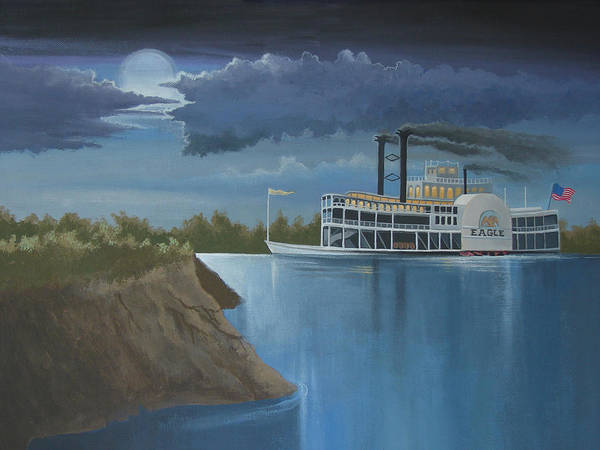 Riverboat Painting - Steamboat On The Mississippi by Stuart Swartz