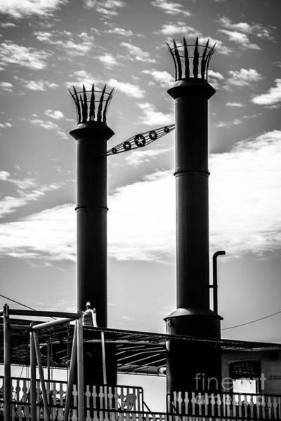 Steam Boat Photograph - Steamboat Smokestacks Black And White Picture by Paul Velgos
