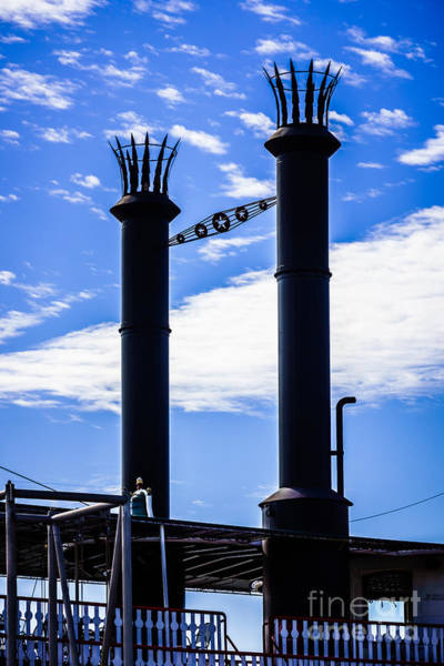 Steam Boat Photograph - Steamboat Smokestacks On The Natchez Steam Boat by Paul Velgos