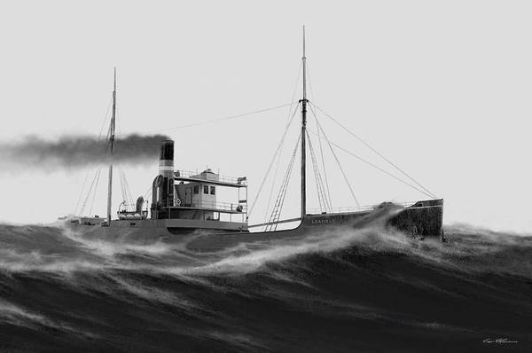 Lake Superior Painting - Steamer Leafield by Captain Bud Robinson