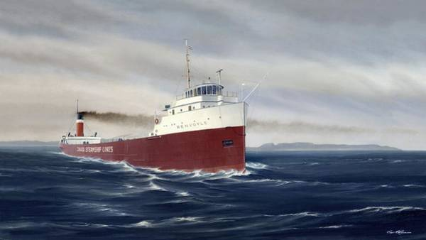 Lake Superior Painting - Steamer Renvoyle by Captain Bud Robinson