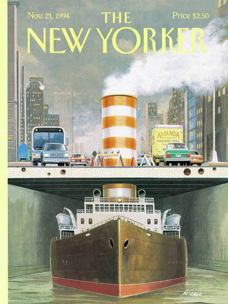 Sailing Painting - New Yorker November 21st, 1994 by Bruce McCall