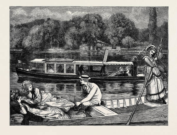 Wall Art - Drawing - Steaming And Punting by English School