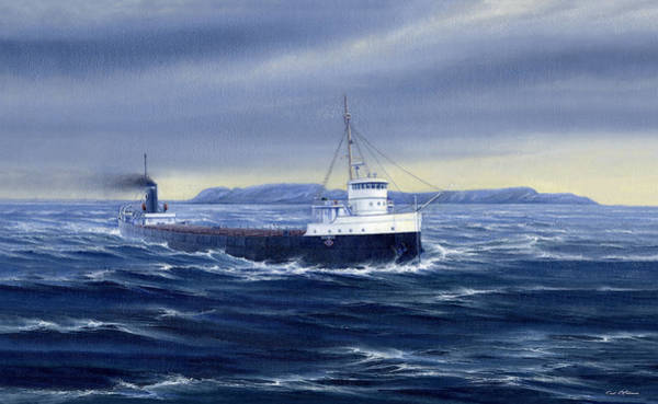Lake Superior Wall Art - Painting - Steaming Past A Giant by Captain Bud Robinson
