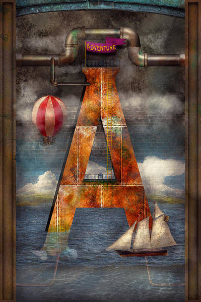 Digital Art - Steampunk - Alphabet - A Is For Adventure by Mike Savad