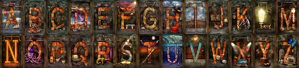 Photograph - Steampunk -  Alphabet - Banner Version Complete by Mike Savad