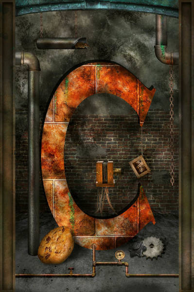 Digital Art - Steampunk - Alphabet - C Is For Chain by Mike Savad