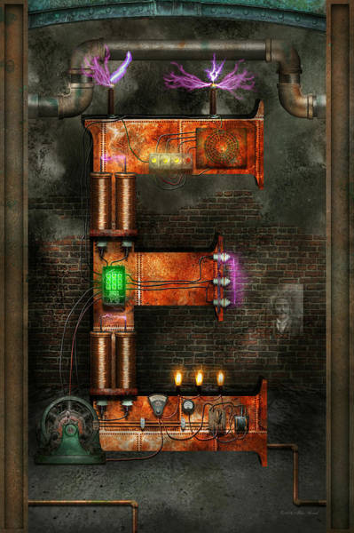 Digital Art - Steampunk - Alphabet - E Is For Electricity by Mike Savad