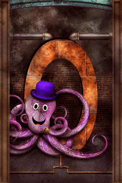 Digital Art - Steampunk - Alphabet - O Is For Octopus by Mike Savad