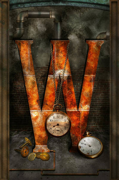 Punk Digital Art - Steampunk - Alphabet - W Is For Watches by Mike Savad