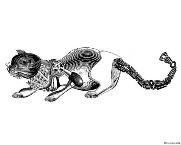 Digital Art - Steampunk Cat by Eric Edelman