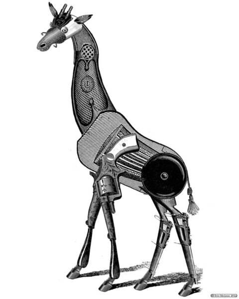 Digital Art - Steampunk Giraffe by Eric Edelman