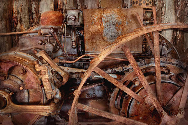 Rusty Chain Wall Art - Photograph - Steampunk - Machine - The Industrial Age by Mike Savad