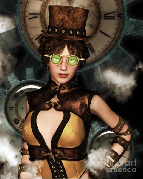 Digital Art - Steampunk Portrait 2 by Elle Arden Walby