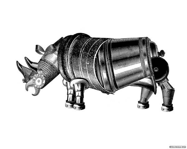 Digital Art - Steampunk Rhinoceros by Eric Edelman