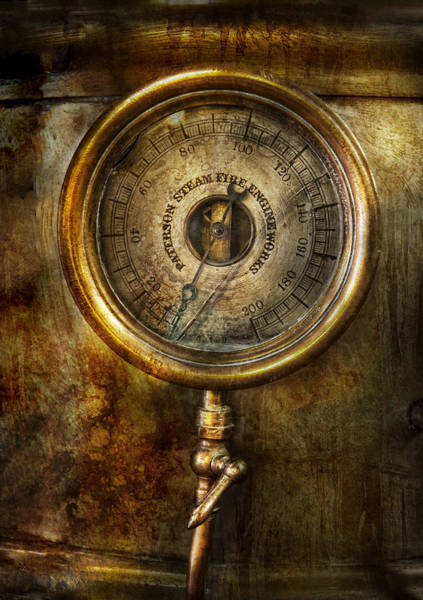 Wall Art - Photograph - Steampunk - The Pressure Gauge by Mike Savad
