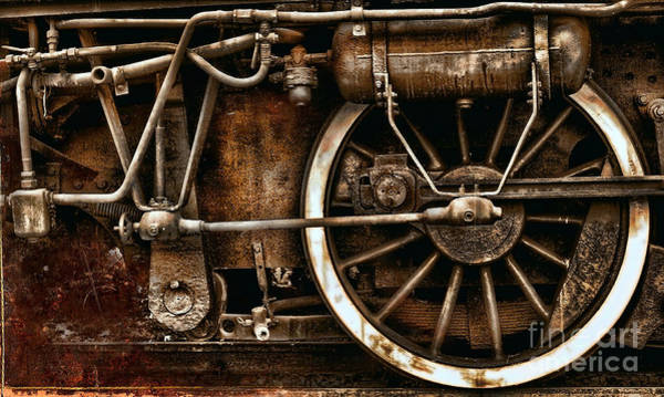 Steampunk- Wheels Of Vintage Steam Train Art Print