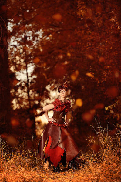 Jewelery Photograph - Steampunk Woman In Forrest Of Falling Leaves - Autumn's Arrival by Kriss Russell