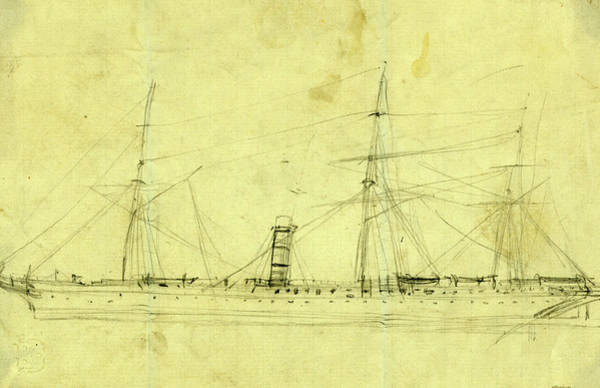 Wall Art - Drawing - Steamship With Three Masts, Between 1860 And 1865 by Quint Lox