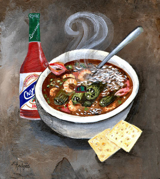 Slate Painting - Steamy Gumbo by Elaine Hodges