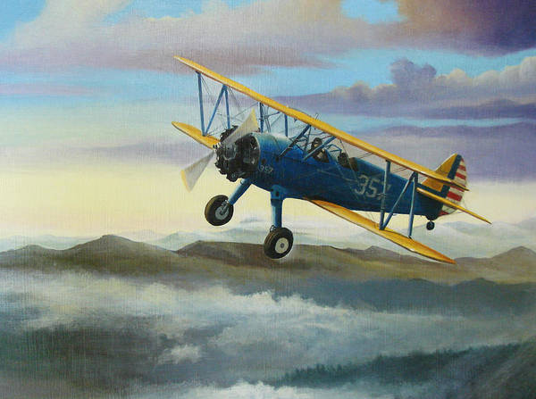 Air War Painting - Stearman Biplane by Stuart Swartz