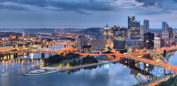 Photograph - Steel City Glow by Adam Jewell