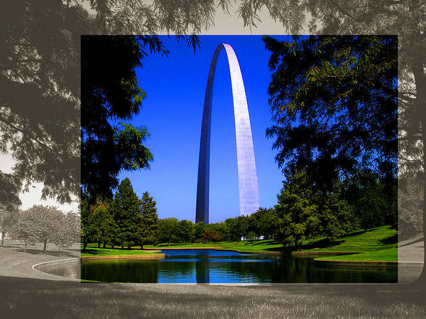 Photograph - Steel Gateway Arch Landscape by Patrick Malon