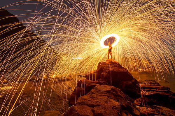 Scripps Pier Photograph - Steel Wool Rocks by Zach Carman
