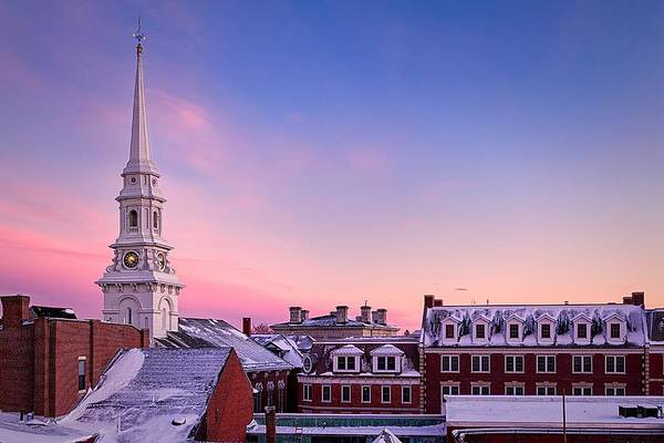 Photograph - Steeple Over Snow Covered Roof Tops Portsmouth Nh by Jeff Sinon