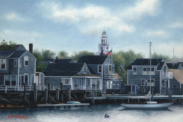 Cape Cod Painting - Steeple View Nantucket by Julia O'Malley-Keyes