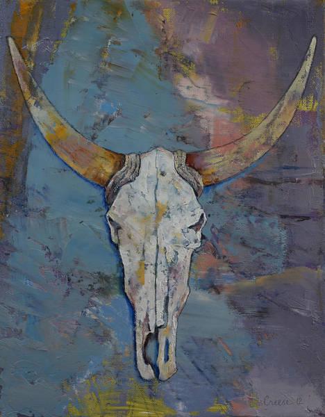 Steer Wall Art - Painting - Steer Skull by Michael Creese