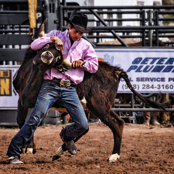 Wall Art - Photograph - Steer Wrestling At The Cottonwood High School Rodeo by Priscilla Burgers