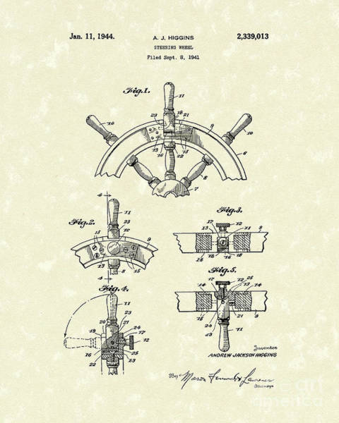 Drawing - Steering Wheel 1944 Patent Art by Prior Art Design