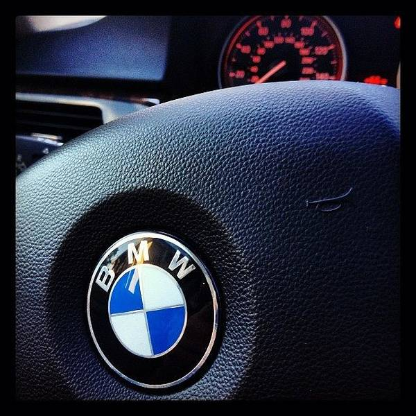 Vehicle Photograph - Steering Wheel Of A 2009 328i Bmw By by Foto Funnel
