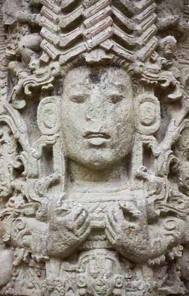 Stone Carving Photograph - Stele A In Copan Ruins, Maya Site by Keren Su