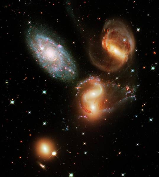 Wall Art - Photograph - Stephan's Quintet Galaxies by Nasa/esa/stsci/hubble Sm4 Ero Team/science Photo Library