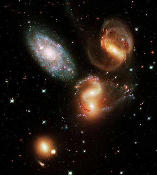Interacting Galaxies Wall Art - Photograph - Stephan's Quintet Galaxies by Nasa/esa/stsci/hubble Sm4 Ero Team/science Photo Library