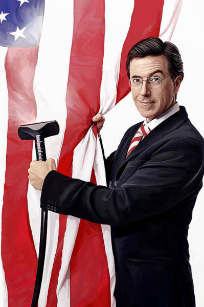 Television Painting - Stephen Colbert Artwork by Sheraz A